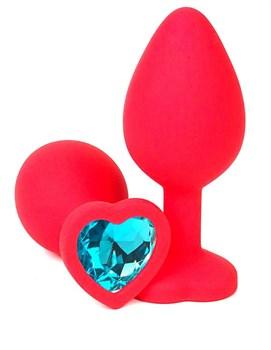 Красная силиконовая анальная пробка с голубым стразом-сердцем - 8 см.