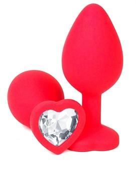 Красная силиконовая анальная пробка с прозрачным стразом-сердцем - 8,5 см.