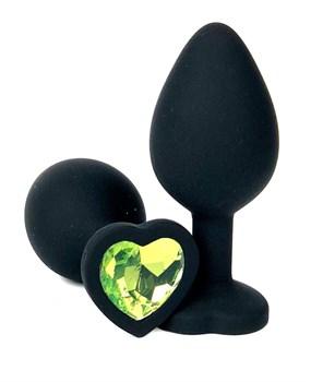 Черная силиконовая пробка с лаймовым кристаллом-сердцем - 10,5 см.