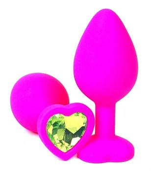 Розовая силиконовая пробка с лаймовым кристаллом-сердцем - 8,5 см.