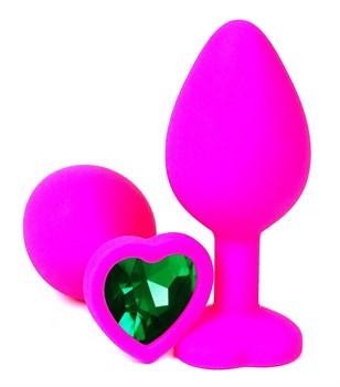 Розовая силиконовая пробка с зеленым кристаллом-сердцем - 9,5 см.