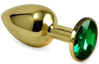 Золотистая анальная пробка с зеленым кристаллом - 5,5 см.