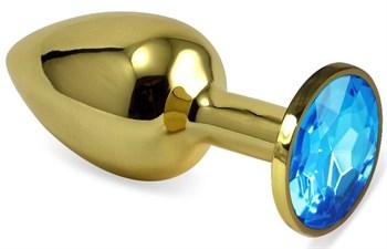 Золотистая анальная пробка с голубым кристаллом - 5,5 см.