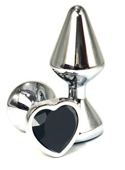 Серебристая анальная пробка с черным кристаллом-сердцем - 8 см.