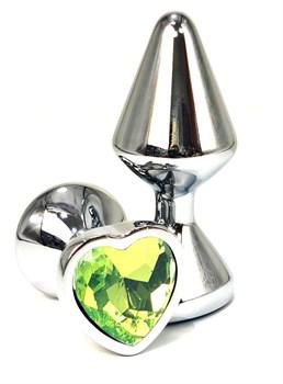 Серебристая анальная пробка с лаймовым кристаллом-сердцем - 8 см.