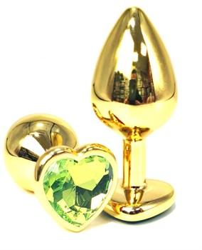 Золотистая анальная пробка с лаймовым кристаллом-сердцем - 6 см.