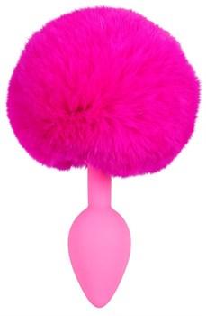 Розовая анальная втулка с меховым хвостиком