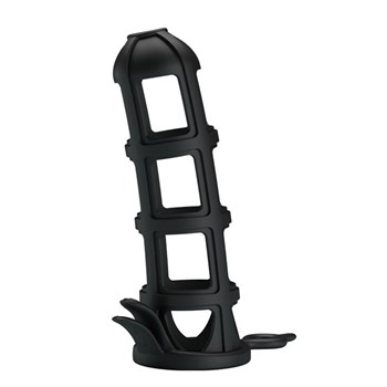 Черная насадка-клетка Penis Sleeve - 11,6 см.