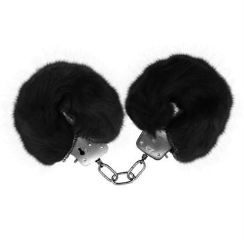 Черные меховые наручники Love с ключиками