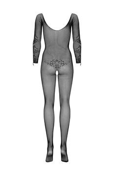 Эффектный сетчатый женский комбинезон с рисунком