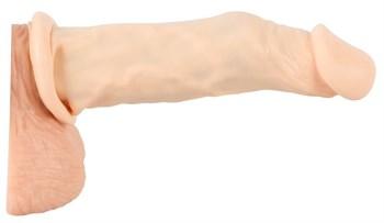 Телесная насадка-удлинитель Silicone Extension - 19 см.