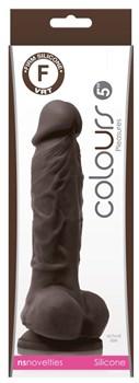 Коричневый силиконовый фаллоимитатор с мошонкой Pleasures 5 Dildo - 18 см.