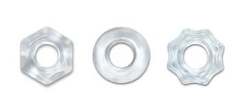 Набор из 3 прозрачных эрекционных колец Chubbies
