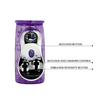 Фиолетовый вибратор Traver Partner с ротацией бусин - 26 см.