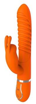Оранжевый вибратор MIDNIGHT MAGIC со стимулятором клитора - 22 см.