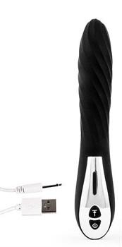 Черный стильный вибромассажер с 12 режимами вибрации - 23 см.