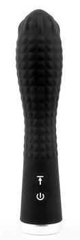 Черный вибромассажер с 12 режимами вращения шариков - 18,5 см.