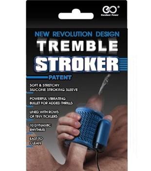 Синий вибромастурбатор TREMBLE STROKER