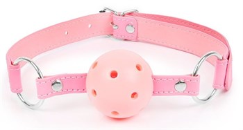 Розовый кляп-шарик на регулируемом ремешке с кольцами