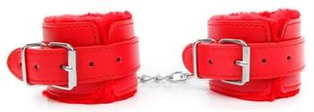 Красные мягкие наручники на регулируемых ремешках