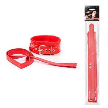 Красный ошейник на поводке с ручкой-петлей