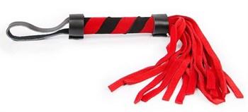 Красно-черная многохвостая плеть с петлей - 27 см.