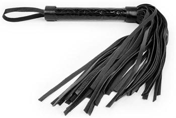 Черная многохвостовая плеть с круглой гладкой ручкой - 38 см.