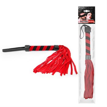 Красная многохвостовая плеть с круглой красно-черной ручкой - 39 см.