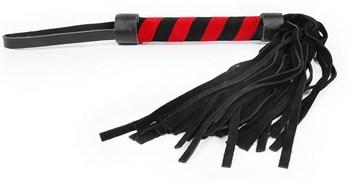 Черная многохвостовая плеть с круглой черно-красной ручкой - 39 см.