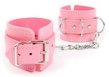 Розовые наручники на регулируемых ремешках с цепочкой