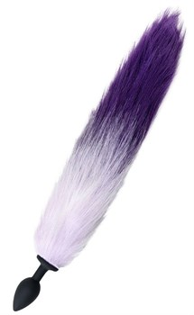 Черная анальная втулка с фиолетово-белым хвостом - размер S