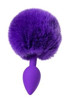 Фиолетовая анальная втулка Sweet bunny с фиолетовым пушистым хвостиком