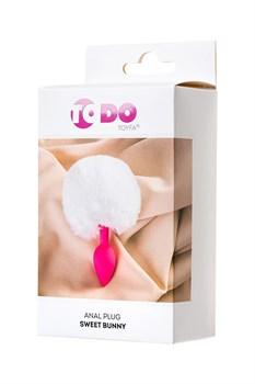 Розовая анальная втулка Sweet bunny с белым пушистым хвостиком