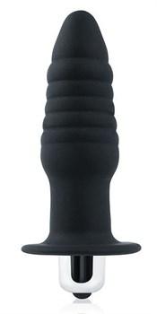 Черная ребристая вибровтулка с ограничителем - 9 см.