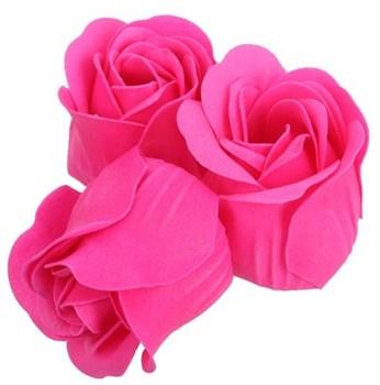 Розовые мыльные розы в шкатулке-сердце  С любовью  - 3 шт.