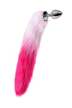 Серебристая анальная втулка с бело-розовым хвостом - размер M