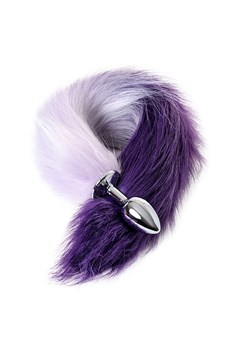 Серебристая металлическая анальная втулка с фиолетово-белым хвостом - размер S