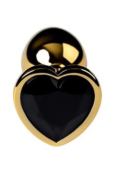 Золотистая коническая анальная пробка с черным кристаллом-сердечком - 7 см.