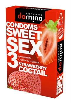Презервативы для орального секса DOMINO Sweet Sex с ароматом клубничного коктейля  - 3 шт.