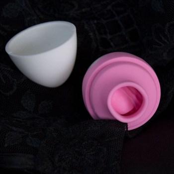 Бело-розовый стимулятор с язычком Tori