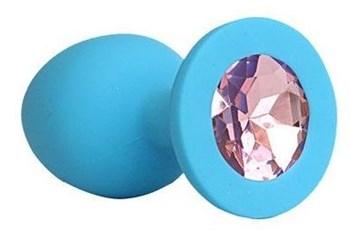 Голубая силиконовая анальная пробка с нежно-розовым кристаллом - 9,5 см.
