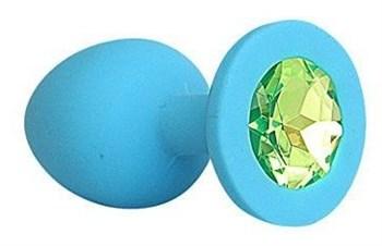 Голубая силиконовая анальная пробка с салатовым кристаллом - 9,5 см.