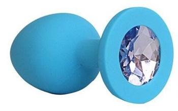 Голубая силиконовая анальная пробка с фиолетовым кристаллом - 9,5 см.