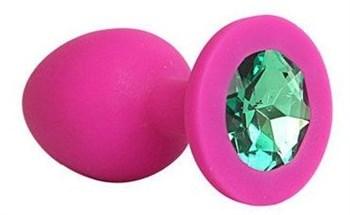 Ярко-розовая анальная пробка с зеленым кристаллом - 9,5 см.
