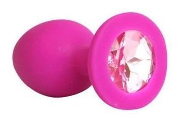 Ярко-розовая анальная пробка с нежно-розовым кристаллом - 9,5 см.