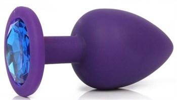 Фиолетовая анальная пробка с синим кристаллом - 9,5 см.