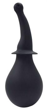 Чёрный силиконовый изогнутый анальный душ