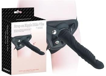 Черный страпон 8 inch Strap-on Ripple Dildo Vibe - 21 см.