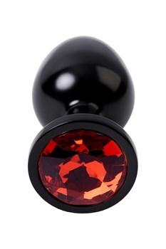 Черный анальный плаг с кристаллом красного цвета - 8,2 см.