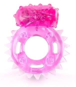 Розовое эрекционное кольцо c шипиками по кругу и вибропулей
